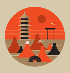 Japanese landscape travel poster beautiful pagoda vector