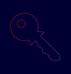 key sign line icon with vector image
