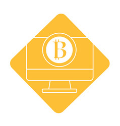 Label computer technology with bitcoin currency vector