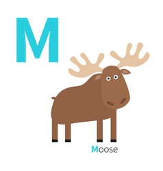 Letter M Moose Zoo alphabet English abc with vector image