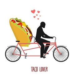 Lover taco mexican food on bicycle lovers of vector