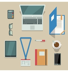 Office workplace with mobile devices and documents vector