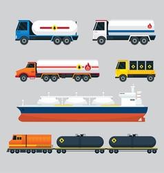 Oil industry vehicles transportation set vector