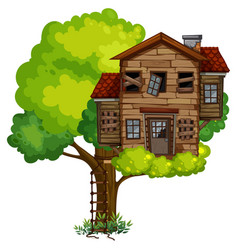 old treehouse on the tree vector image vector image
