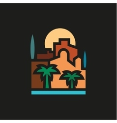 Palm trees and building with sea at sunset vector