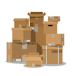 pile of stacked sealed cardboard boxes vector image vector image