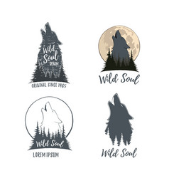 set of four wolf howling on the moon in the forest vector image