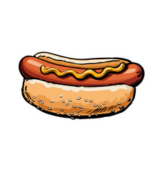 sketch sausage hot dog with sauce isolated vector image vector image