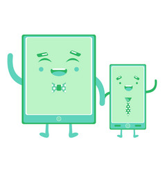 smartphones hold hands vector image