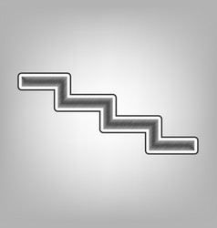 Stair down sign pencil sketch imitation vector
