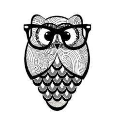 Textured owl with glasses vector image vector image