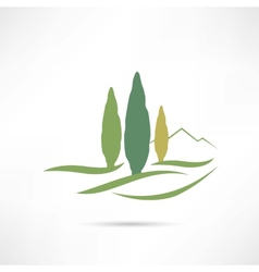 Trees growing in a field icon vector