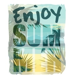 Tropical summer print with slogan for t-shirt vector