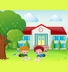 Two boys reading book in the school yard vector