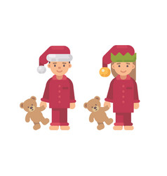 Two children in christmas hats and red pajamas vector