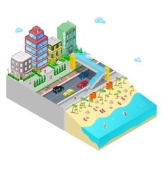 Isometric Beach Hotel with Sea Coast vector image