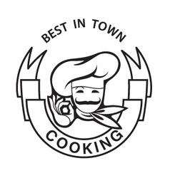 mustachioed chef image vector image