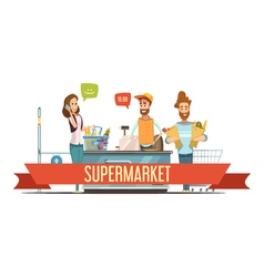 Customers At Supermarket Checkout Cartoon vector image