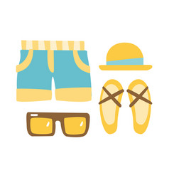 Slippers shorts sun glasses and straw hat vector