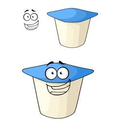 Cheeky cartoon yoghurt with a happy smile vector image
