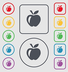 Apple icon sign symbol on the round and square vector