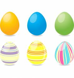 Six easter eggs vector
