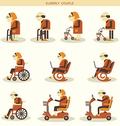 Elderly people and medical hospital disabled vector