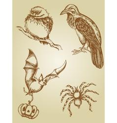 set of vintage hand drawn animals vector image