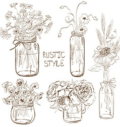 Set of mason jars with flowers vector