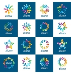 Set of logos union people vector