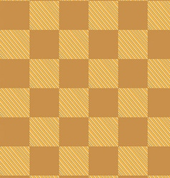 Yellow brown checked fabric seamless pattern vector