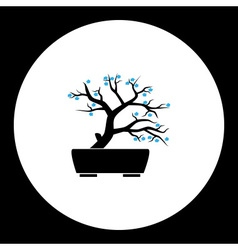 Small bonsai plant with blue flowers silhouette vector