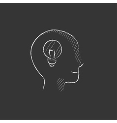 Human head with idea drawn in chalk icon vector