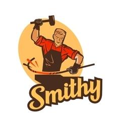 smithy blacksmith label and logo vector image