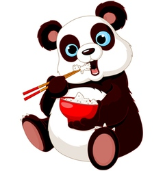 Panda eating rice vector