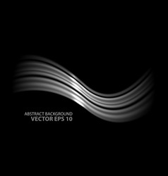 Abstract silver wave on black vector