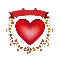 Arch of autumn leaves with red heart and label vector