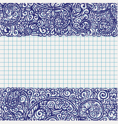 Ball pen drawn frame in school notebook paper vector