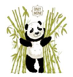 Big panda owns his bamboo vector