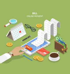 Bills online payment flat isometric concept vector