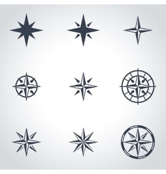 Black wind rose icon set vector
