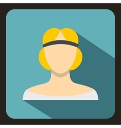 Blonde woman in a tiara icon flat style vector
