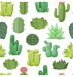 Cactus doodle seamless pattern vector image