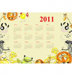 Calendar with animals for 2011 vector