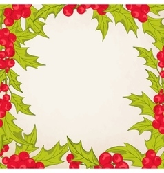 Christmas frame border with mistletoe holly berry vector