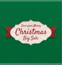 christmas sale banner on green background vector image