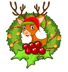Christmas theme with reindeer and mistletoes vector image vector image