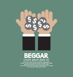 Coin donated to the beggar vector