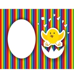Cracked egg with cute chicks insidehappy birthday vector