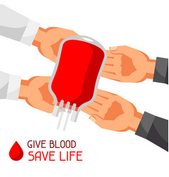 donate blood save life medical and healthcare vector image vector image